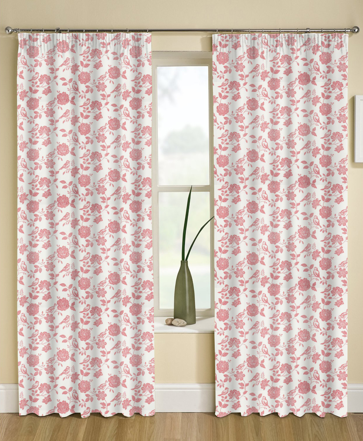 Superb img of Bird Garden Curtains Blind in Peony Quality Made to Measure Curtains with #913A3D color and 1236x1500 pixels