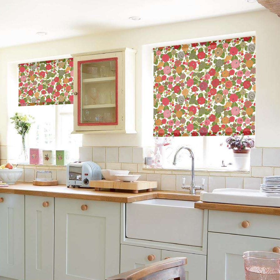 Patterned Blinds For Kitchen Kitchen Roller Blinds Patterned Zitzat Funky Lemon Yellow Flowers