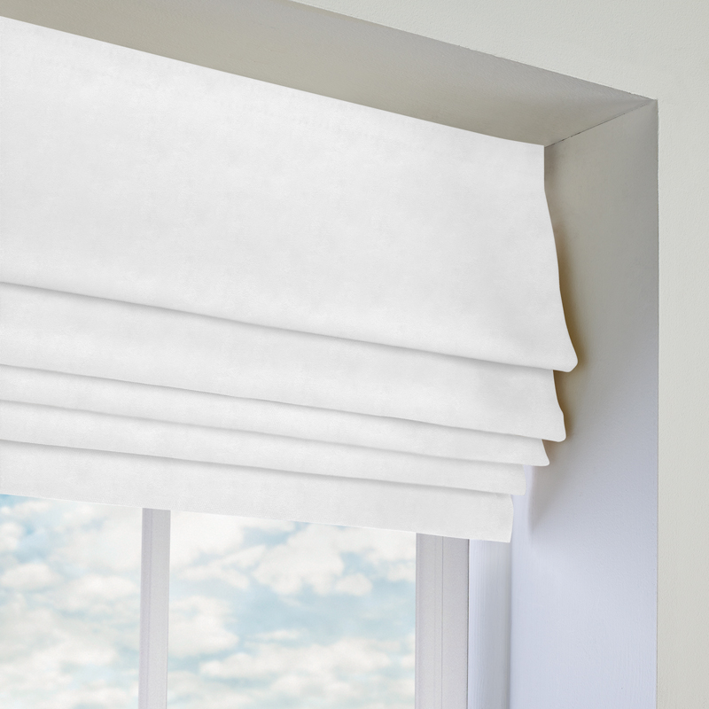 White Kitchen Roller Blinds: Ambassador Faux Suede Roman Blind In White