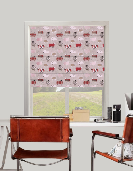 Baa Baa Roman Blind In Peony Quality Made To Measure