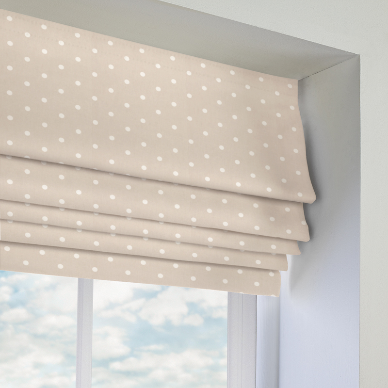 dotty roman blind in taupe quality made to measure roman blinds. Black Bedroom Furniture Sets. Home Design Ideas