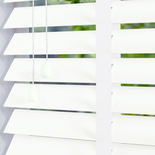 Congo 50 Taped True White with White Tape White and Cream 50mm Wooden Blinds