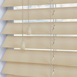 Faux Wood 50 Chiffon White and Cream 50mm Wooden Blinds
