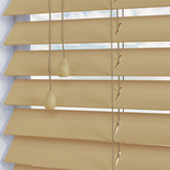 Faux Wood 50 High Shine Ivory White and Cream 50mm Wooden Blinds