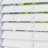 Faux Wood 50 High Shine White White and Cream 50mm Wooden Blinds