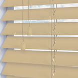 Faux Wood 50 Silk Ivory White and Cream 50mm Wooden Blinds