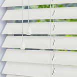 Faux Wood 50 Silk White White and Cream 50mm Wooden Blinds