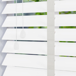 Fauxwood Smooth Taped True (white) 50mm White and Cream 50mm Wooden Blinds