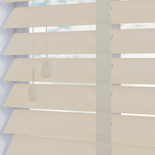 Impressions Fauxwood 50 Taped Cream Embossed White and Cream 50mm Wooden Blinds