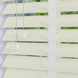 Nile 50 Taped Pearl White White and Cream 50mm Wooden Blinds