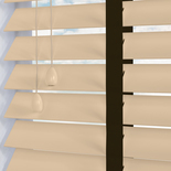 Nile Contrast 50 Taped Cream with Chocolate Tape White and Cream 50mm Wooden Blinds
