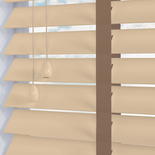 Nile Contrast 50 Taped Cream with Latte Tape White and Cream 50mm Wooden Blinds