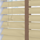 Nile Contrast 50 Taped Oyster with Latte Tape White and Cream 50mm Wooden Blinds