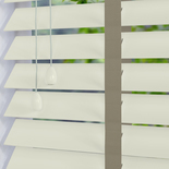 Nile Contrast 50 Taped Pearl White with Ecru Tape White and Cream 50mm Wooden Blinds