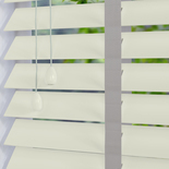 Nile Contrast 50 Taped Pearl White with Slate Tape White and Cream 50mm Wooden Blinds