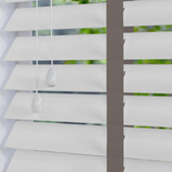 Nile Contrast 50 Taped White with Dark Grey Tape White and Cream 50mm Wooden Blinds