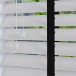 Nile Contrast 50 Taped White with Ebony Tape White and Cream 50mm Wooden Blinds