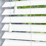 Privacy 50 Pure White White and Cream 50mm Wooden Blinds