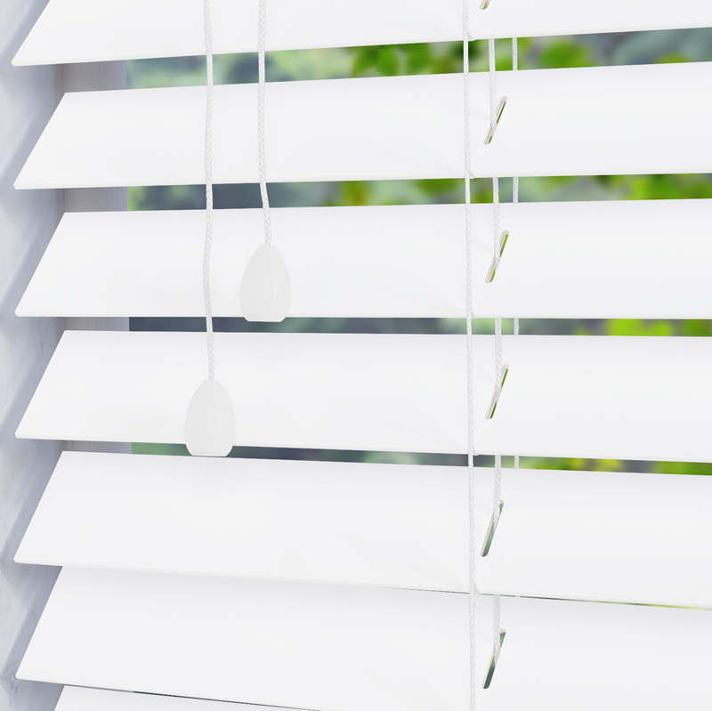 Fauxwood Smooth Wooden Blind In True White 50mm