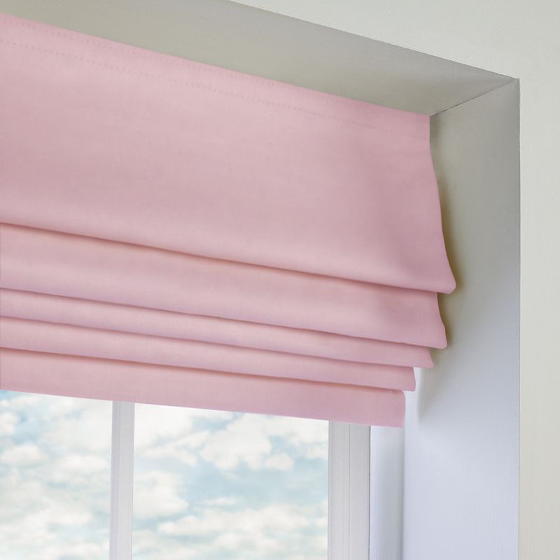 Ambassador Faux Suede Roman Blind In Pastel Pink Quality