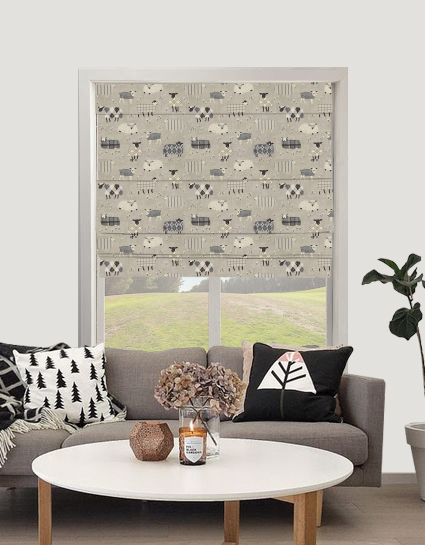 Baa Baa Roman Blind In Charcoal Quality Made To Measure