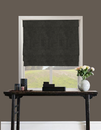 Basket Weave Roman Blind In Black Quality Made To