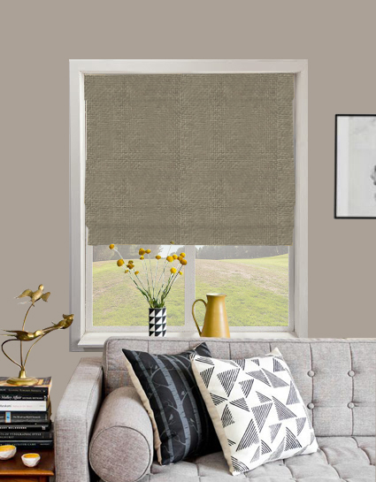 Basket Weave Roman Blind In New Grey Quality Made To