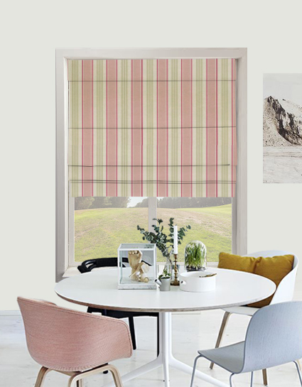 Deckchair Stripe Roman Blind In Sage Quality Made To