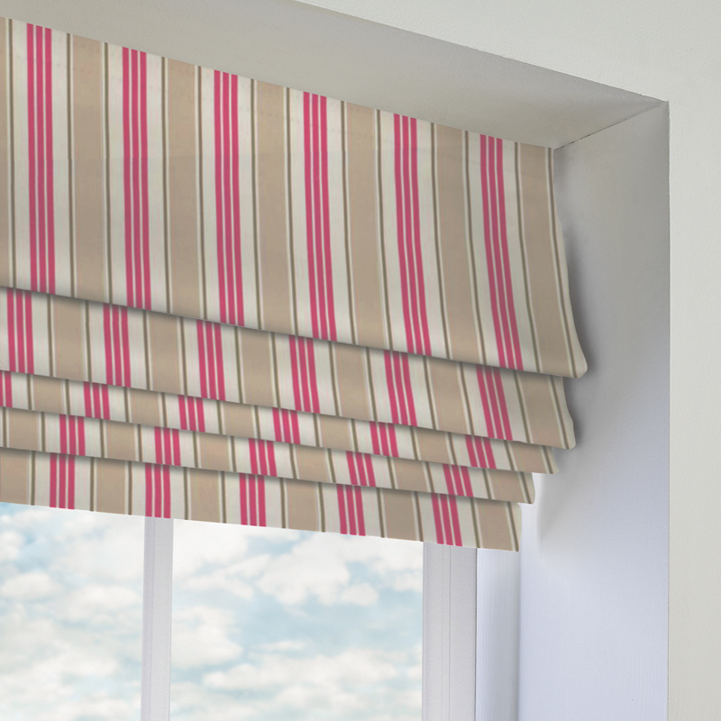 Deckchair Stripe Roman Blind In Taupe Quality Made To