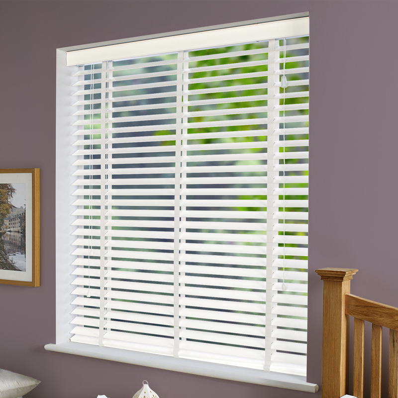 B Q Venetian Blinds: Fauxwood Grained Taped Wooden Blind In True (White) 50Mm