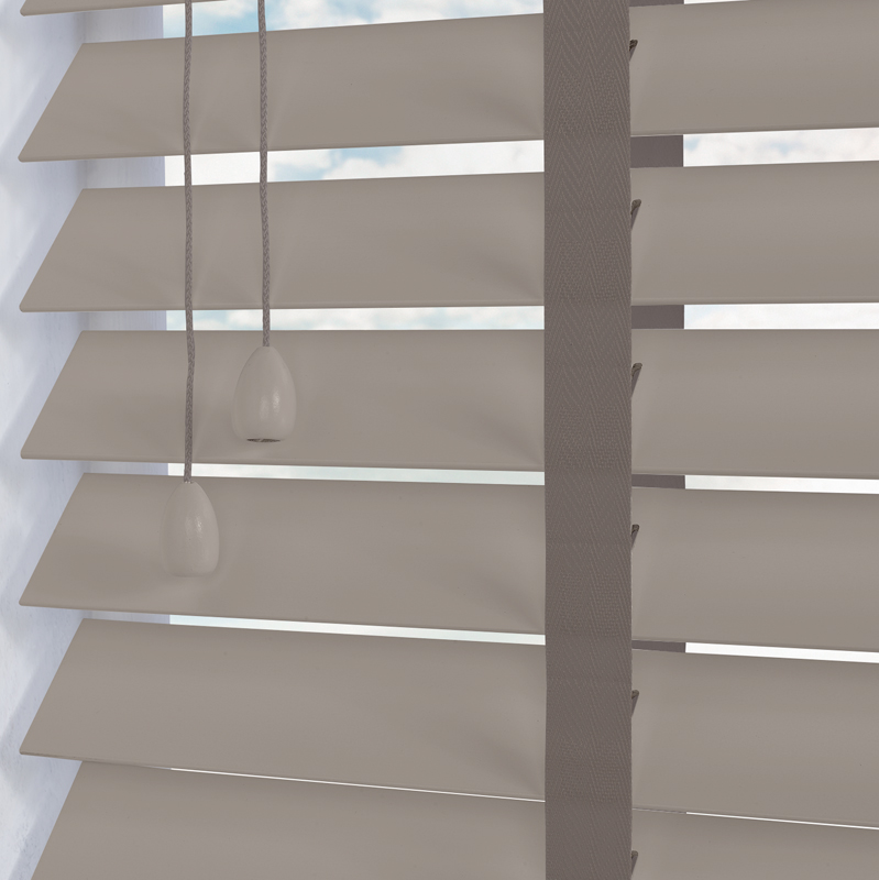 Nile Contrast 50 Taped Wooden Blind In Slate Grey With